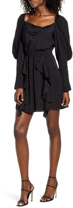WAYF X Influencing in Color Wispy Cowl Neck Long Sleeve Minidress