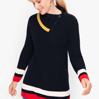 Talbots Tipped Split Neck Shaker Stitch Sweater