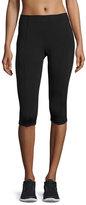 Aurum Paneled Mid-Rise Capri Leggings, Black