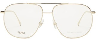 Fendi Aviator Metal Glasses - Gold