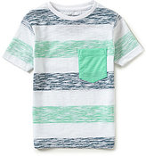 First Wave Little Boys 2T-7 Striped Reverse-Print Crewneck Short-Sleeve Pocket Tee