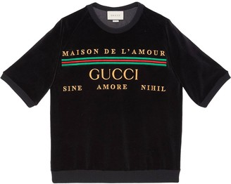 Gucci Embroidered Romantic Motto Sweatshirt