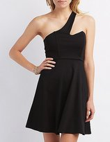 Charlotte Russe One-Shoulder Asymmetrical Skater Dress