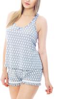 Catherine Malandrino Gray Geometric Crochet-Back Tank & Shorts Pajama Set