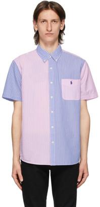 Polo Ralph Lauren Blue and Pink Striped Fun Short Sleeve Shirt