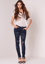 Missy Empire Tove Blue Low Rise Ripped Skinny Jeans