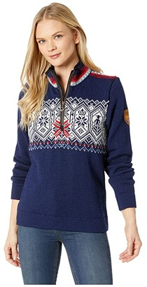 Dale of Norway Norge Feminine Sweater (C-Light Navy/Smoke/Off-White/Blue Shadow/Raspberry/Light Charcoa) Women's Sweater