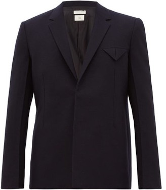 Bottega Veneta Single-breasted Wool-felt Jacket - Mens - Navy