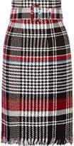 Oscar de la Renta Belted Fringed Checked Cotton-blend Tweed Skirt - Black