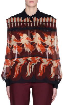 Fendi Bird-Print Long-Sleeve Silk Georgette Blouse
