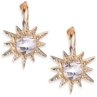 Anzie Aztec White Topaz & 14K Yellow Gold Starburst Earrings