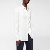 Paul Smith Women's Ivory Silk-Twill Shirt With Concealed Placket