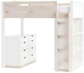 Pottery Barn Teen Rhys Loft Bed with Dresser Set, Full, Weathered White/Simply White