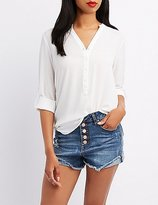 Charlotte Russe Mandarin Collar Button-Up Shirt