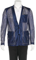 Christian Dior Skinny Notch-Lapel Mesh Jacket