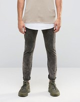 Asos Super Skinny 5 Pocket Trousers In Khaki Extreme Acid Wash