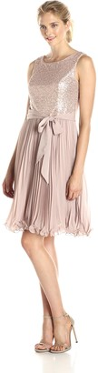 SL Fashions Women's Sequin Top Chiffon Pleated Skirt Dress