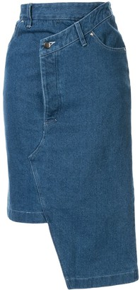 Andrea Crews Deconstructed Denim Midi Skirt