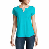 Liz Claiborne Short Sleeve Split Crew Neck T-Shirt-Talls