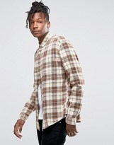 Asos Bleach Wash Check Overshirt In Brown