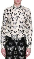 Alexander McQueen Moth-Print Silk Shirt, White/Black