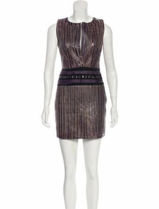 Elise Overland Leather Pleated Dress Aubergine