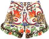 Dolce & Gabbana Maiolica & Leopard Cotton Jersey Shorts