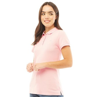 Crew Clothing Womens Exmouth Solid Jersey Polo Classic Pink