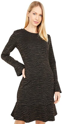 MICHAEL Michael Kors Siberian Long Sleeve Ruffle Dress (Caramel) Women's Dress