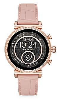 Michael Kors Women's Access Sofie Heart Rate Rose Goldtone Stainless Steel & Embossed Silicone Strap Smartwatch