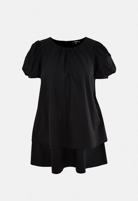 Missguided Plus Size Black Puff Sleeve Tiered Smock Dress