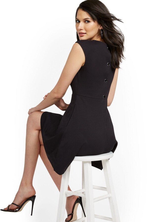 New York & Co. Button-Back Fit and Flare Dress - City Knits