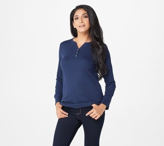 Denim & Co. Waffle Knit V-Neck Henley Long-Sleeve Top