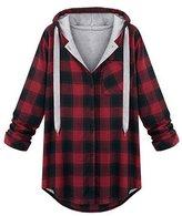 Tortor 1Bacha Women's Stylish Tartan Plaid Hoodie Long Hooded Sweatshirt