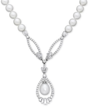 """Arabella Cultured Freshwater Pearl (8mm) and Swarovski Zirconia 17"""" Pendant Necklace in Sterling Silver"""