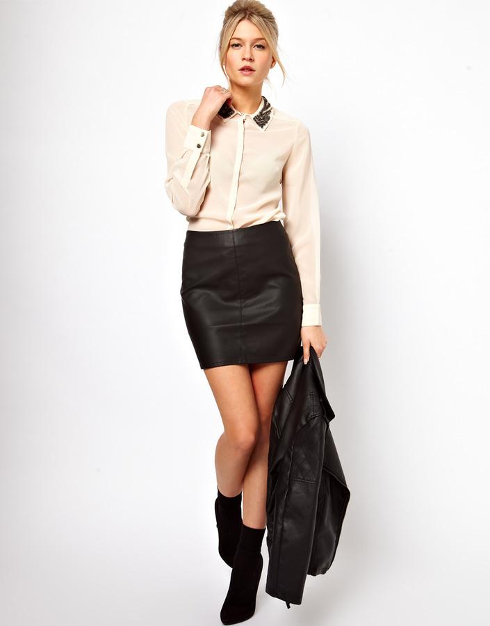Oasis Leather Look Mini Skirt