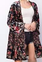 Easel Velvet Ruffle Kimono
