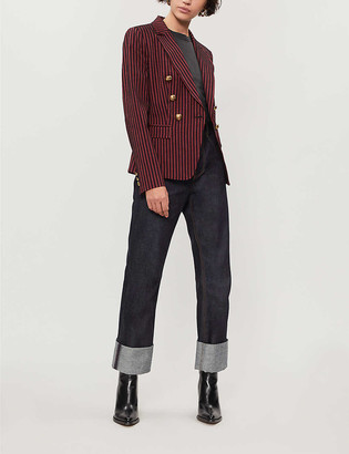 Pinko Incudine striped double-breasted wool-twill blazer