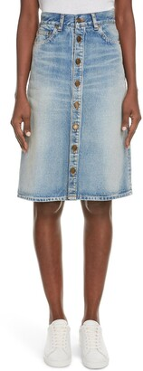 Saint Laurent Knee Length Denim Skirt