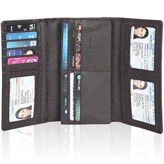 Mulberry RFID Wallets for Women Genuine Leather Checkbook Wallet