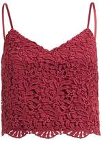WtR - WtR Burgundy Crochet Lace Cami Crop Top