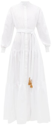Evi Grintela Beldi Tasselled-tie Tiered Cotton Maxi Dress - White