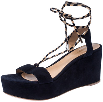 Gianvito Rossi Navy Blue Suede Open Toe Ankle Wrap Wedge Sandals Size 35