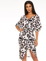 Quiz Scuba Crepe Animal Print Batwing Sleeve Wrap Midi Dress