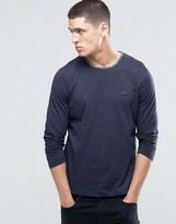 Pretty Green Long Sleeve Top With Paisley Trim In Slim Fit Navy