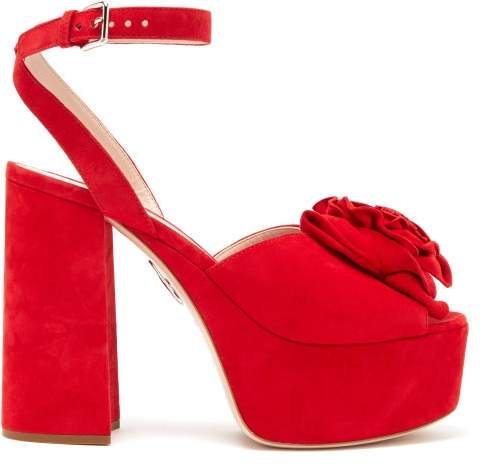 Rose Womens Sandals Suede Applique Red Platform CxBWdQroe