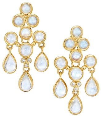 Temple St. Clair Celestial 18K Yellow Gold, Blue Moonstone & Diamond Fringe Earrings