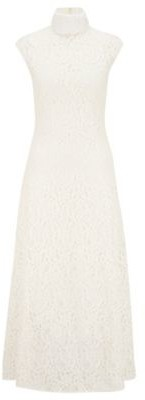 HUGO BOSS Midi Dress In Floral Lace With Mock Neckline - White