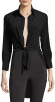Norma Kamali Tie-Front Jersey Shirt, Black