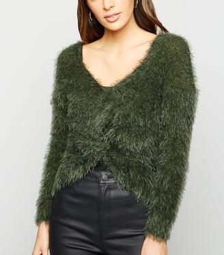 New Look Urban Bliss Fluffy Knit Twist Back Jumper